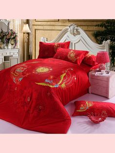 Chinese Dragon and Phoenix Wedding Red Bedding Set, Cotton Home Textiles Quilt Cover Pillowcase Bed Sheet Set Queen King Size Linen Bed Sheets, Linen Bedroom, Linen Bedding, Bed Linens, Bed Cover Sets, Bed Covers, Wedding Bed, Black Bed Linen, Cheap Bedding Sets