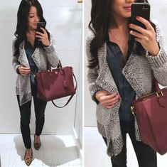 Casual winter outfit idea - drape cardigan, tory burch robinson tote, black jeans + leopard print flat loafers