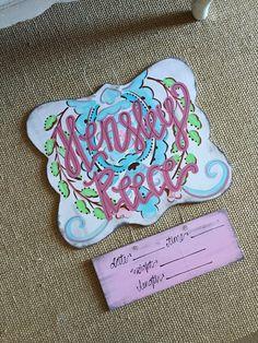 {hensley reece} love bird damask pattern // hospital door hanger