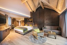 luxury hotel, room inspiration, room interior, modern design, traditional elements, ski resort, wellness resort, Tyrolean style, Activehotel Bergkönig, Neustift, Austria, room decor Wellness Resort, Home Interior, Interior Modern, Restaurant, Luxury Homes, Lobby Bar, Inspiration, Bed, Interiordesign