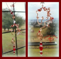 ~Wired Whinnies SunJewels ~ by Rhythm-n-Beads TM  are  whimsical wire horse Suncatchers....lovingly hand fashioned  from copper wire and accented with beads & charms. Hang your 'wired whinnies' ... * in a window *from a rear view mirror * from a lamp * in the tack room * on the Christmas tree or a wreath during the holidays, or......the possibilities are endless :) Wire Horse Suncatchers, Rearview Mirror Dangles, Horse Ornaments www.rhythm-n-beads.com