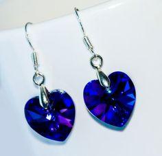 Purple Swarovski heart earrings sterling silver by EllenSmilePhoto