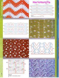 View album on Yandex. Zig Zag Crochet, Manta Crochet, Crochet Motif, Single Crochet, Different Crochet Stitches, Crochet Stitches Patterns, Knitting Stitches, Stitch Patterns, Knitting Patterns