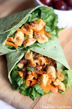 "Thai Chicken Crunch Spinach Tortilla Wraps _ There's just something addicting about the peanut-y, sweet chili flavor of these wraps. They're sweet, but a little spicy & have the perfect amount of ""crunch"" from all of the vegetables. So easy to make!"