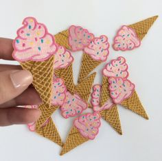 Ice Cream Cone Embroidered Patch / Iron-On Applique – Pink with Sprinkles!