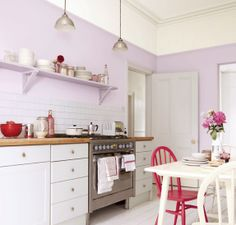 Lilac Kitchen Color Idea. Love how soft it is! I'd do mint instead of the red