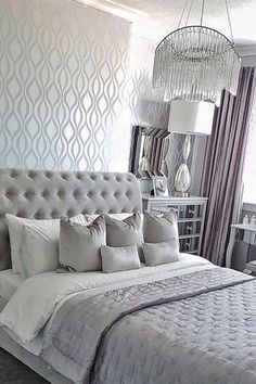 Simple interior decorating accessories modern bedroom ideas home design: Home Design, Design Café, Design Ideas, Silver Bedroom Decor, Diy Bedroom Decor, Bedroom Ideas, Home Decor, Bedroom Inspiration, Modern Bedroom