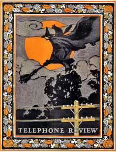 Super Rare Spooky Flying Witch in Storm Clouds--Vintage Telephone Review Halloween Review Magazine Cover