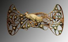 Rene Lalique - Peacock Brooch. Gold, Enamel and Opals. Circa 1900.