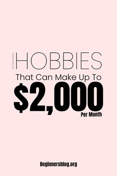 Hobbies That Make Money, Great Hobbies, Make Money Blogging, Way To Make Money, Make Money Online, Legitimate Online Jobs, Home Based Jobs, Money From Home, Extra Money