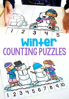 Winter Line Up Counting Puzzles 1-5 and 1-10
