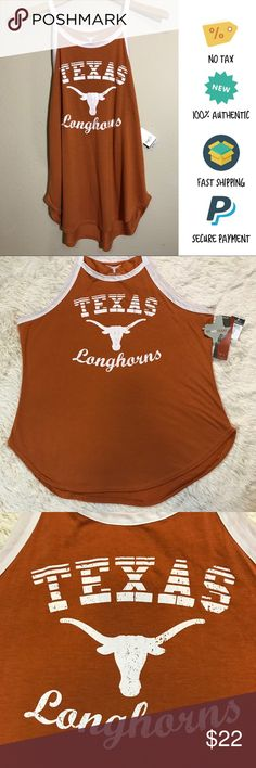 NWT Women's Texas Longhorns High Neck Tank Top, XL NWT Women's Texas Longhorns High Neck Tank Top, XL  Item Condition: Brand new with tags. Please review measurements to assure a perfect fit! Product shipped from smoke, animal, and child-free environment.   •Sleeveless  •High, rounded neckline  •Rounded hem  •Lightweight fabric  •Materials: 65% Polyester, 35% Rayon  •Approx Measurements: Bust: 22 inches, Waist: 20.5 in, Hem: 24 in , Length from top of neckline - bottom of hemline: 24.5…