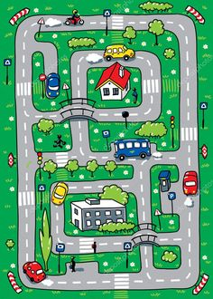 Pattern-layrinth of roads wihth road signs, cars and houses. Teaching Maps, Car Play Mats, Mazes For Kids, Art Corner, Felt Patterns, Busy Book, Paper Toys, Diy Toys, Toddler Activities