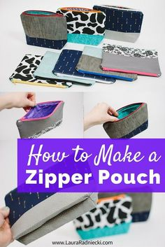 Zipper Pouch Tutorial - In this post, I share my favorite tutorials for how to make a zipper pouch. I show photos of flat zippered pouches I made, as well as photos of makeup bag style pouches I made with a flat, square bottom. They make the perfect gift for Christmas or a birthday, and can also be used as a purse, clutch or to organize your diaper bag or travel suitcase.