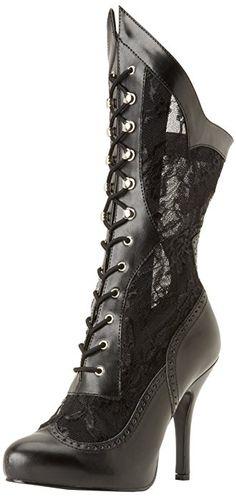 Funtasma Women's Victorian 116X BPU L Boot,Black Polyurethane/Lace,7 M US