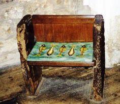 The Mermaid Chair inside St Senaras Church, Zennor, Cornwall.