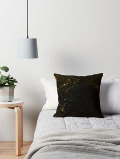 Black Gold Marble  Throw Pillows