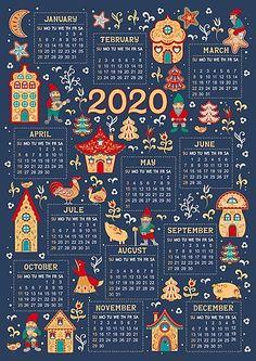 'Calendar for 2020 in a fabulous folk style. ' Photographic Print by Skaska