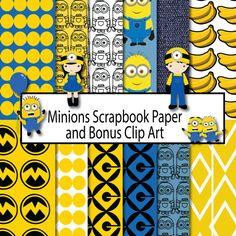 Papel de Scrapbook de esbirros, esbirros de papel de Scrapbook, descarga inmediata, Clip Art lacayos, esbirros de papel Digital