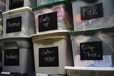 using chalkboard stickers to label totes--just erase and rewrite when you change the contents! Chalkboard Contact Paper, Chalkboard Stickers, Chalkboard Labels, Chalkboard Paint, Chalkboard Ideas, Chalk Paint, Liquid Chalk Markers, Organizing Your Home, Organization Ideas