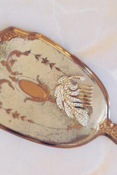 Gold Feather Bohemian Wedding Bridal Hair Comb Hair Jewelry Vintage inspired rhinestone Gift boho carefree Bridal Wedding Romantic 476