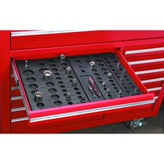 These socket organizers fit our standard sized roller cabinet drawers and keep up to 195 sockets organized by size. Spaces for standard, deep wall sockets and extensions. Can be cut to fit smaller drawers. Belt Storage, Garage Tool Storage, Workshop Storage, Garage Tools, Garage Ideas, Workshop Ideas, Garage Workshop, Extra Storage, Car Garage