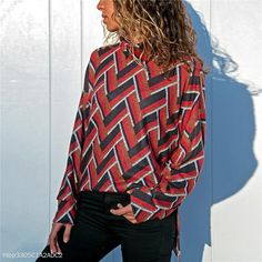 Printed Long Sleeve High Collar Women's T-Shirt Brand Zobrain SKU Product no. Gender Women Style Casual Type Top Material Polyester Decoration Geometry with a deviation of 1 to Size Bust Waist Front length Back l Jumpers For Women, Blouses For Women, T Shirts For Women, Long Sleeve Turtleneck, Boutique, High Collar, Sweater Fashion, Printed Blouse, Shirt Blouses