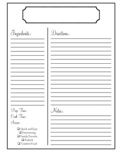 Joelle Charming Weekend Project Printable Recipe Page Book Templates Template For