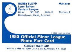 1980 TCMA Lynn Sailors #4 Bobby Floyd Back