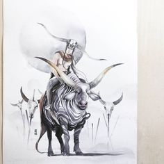 TAURUS  20 Apr - 20 May Earth Sign Ruled by Venus  Watercolour on Fabriano Artistico size 28x38cm 300gsm  #watercolor #watercolour #art #artwork #painting #illustration #zodiac #taurus #skull #bull #cow #cattle by #jongkie