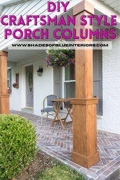 Wood Columns Porch, House Columns, Brick Porch, Porch Wood, Brick Columns, Diy Porch, Porch Post Wraps, Porch Column Wraps, Craftsman Style Porch