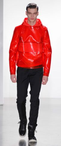 vermilion PVC pullover vermilion nylon hooded shell black bonded wool slim pant black French calf high top sneaker