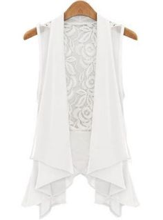 White Sleeveless Lace Chiffon Vest - Sheinside.com Mobile Site