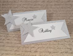Check out Wedding & Event Name Cards, White-Silver Place Cards, Silver Star Escort Cards, Table Place Cards, Bridal Shower, Table Decoration on angelsofheaven