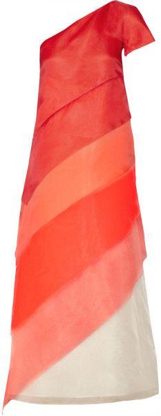 Fendi Orange Tiered Dégradé Organza Midi Dress