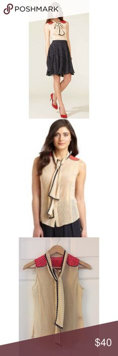 """Z Spoke by Zac Posen Neck Tie Polka Dot Sheer Top Z Spoke by Zac Posen Red Tan Neck Tie Button Down Polka Dot Sheer Top   • Size 0  • Measurements: Laying flat underarm to underarm 16""""; Length of top from shoulder to hem is 23.5""""  • Color: Mainly tan with some red on the shoulder area and blue line on the neck tie. White polka dots contrasting all around  • Pleats detailing in the front  • Fabric: 100% Polyester, Sheer  • In excellent like new condition. No rips, no stains  • MSRP $325  No…"""
