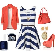 .white and navy blue striped scoop dress. coral blazer. coral bag. gold accessories. blue make up. coral heels.