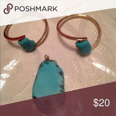 Botanical earring and pedant set Handmade gold hoop earrings and pendant color blueish green colors Jewelry Earrings
