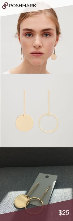 COS drop circle earrings NWT, sold out in store!  Designed with fine geometric lines, these earrings are made from a shiny metal with a push-on clip fastening.  100% Brass / Product no. 0441020001 / Imported COS Jewelry Earrings