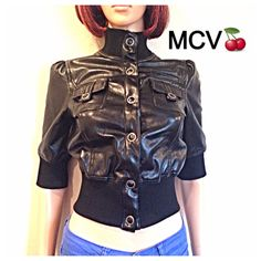 Vintage 90s Pleather crop top /pvc moto / by MainCourseVintage