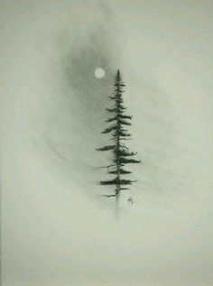 sapin ↟ aquarelle watercolor tree fir arbre winter hiver lune moon