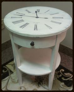 clock face table painted furniture. For inspiration only, but easily made!