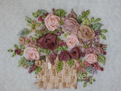 I ❤ ribbon embroidery . . .  (Translated from Portuguese) Lines and multicolored ribbons of silk.  Together, a basket friendly as well!   ~By Lucia Schwery