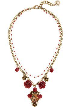 Dolce & Gabbana|Gold-plated glass pearl Virgin Mary necklace|NET-A-PORTER.COM