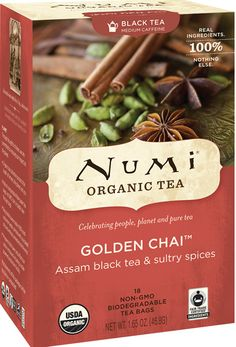 Numi Organic Tea Golden Chai Spiced Full Leaf Black Tea 18 Count Tea Bag * You can find more details by visiting the image link. Numi Organic Tea, Tea Packaging, Drinking Tea, Chai, Gourmet Recipes, Biodegradable Products, Herbalism, Spices, Count