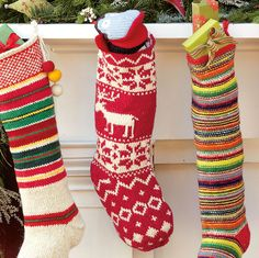 Red and White Reindeer Stocking