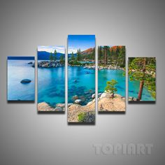 Painting & Calligraphy 5 Piece Set Painting Lake Tahoe Sunset Sand Harbor Beach Canvas Pictures Quality Decorative Art Photos For Room Walls No Frame,High Quality art karat,China art field Suppliers, Cheap photo picture from TOPIART on Aliexpress.com