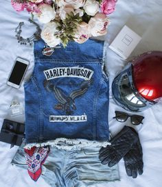 Harley Davidson denim vest #ootd #ootdfash #outfit #fashion #fashionfury #dresscode #dresscode_fashion #famousoutfit #stylezandfashionn #instillandinspire #fashionaddictx0 #Fcloset #earthstyles #kissinfashion #lawsofashion #onlyfashionoutfit #hairsandstyles #americanstyle #instafashion #instastyle #femaleclothing #dressed_up #stylechoice #fashi0n_inspiration #weheartit #flatlay #flatlayapp #flatlays Harley Davidson Jeans, Only Fashion, Dress Codes, Overall Shorts, Ootd, Fashion Outfits, Inspiration, Character Ideas, Clothes For Women