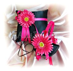 Gerber Daisy Weddings Ring Pillow Basket - Black Hot Pink Spring Wedding Flower Girl Basket  Ring Bearer Pillow, Wedding Ceremony Decor by All4Brides on Etsy https://www.etsy.com/listing/128343484/gerber-daisy-weddings-ring-pillow-basket