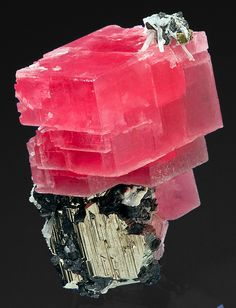 Rhodochrosite atop a large Pyrite with Tetrahedrite and Quartz :: Possibly the finest combination of Rhodo and  Pyrite ever found at the Sweet Home. A specimen that is easily worthy of the finest collections.  From Collector's Pocket, 2nd Crosscut, Sweet Home Mine, Alma, Colorado.